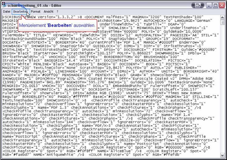 Scribus XML bearbeiten