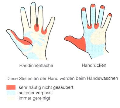 Händewaschen - welche Stellen fehlen oft