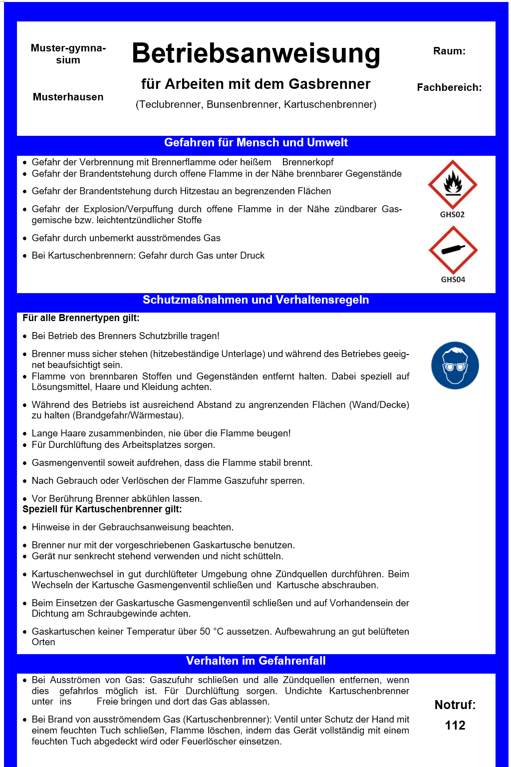 Betriebsanweisung Gasbrenner