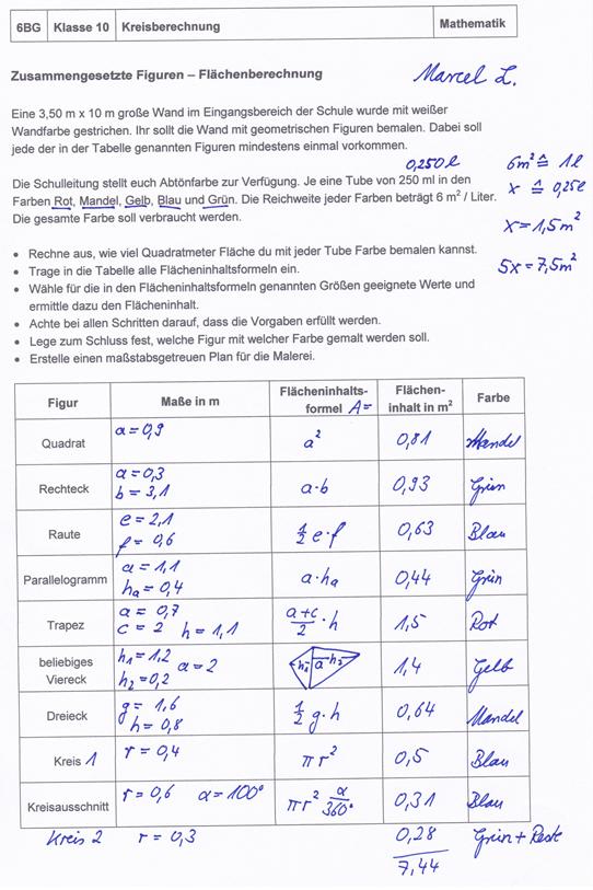 Projekt fl chenberechnung zusammengesetzter figuren for Tabelle quadratmeter