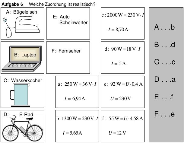 Wiederholung Stromstärke-Spannung-Leistung Arbeitsblatt Lösung