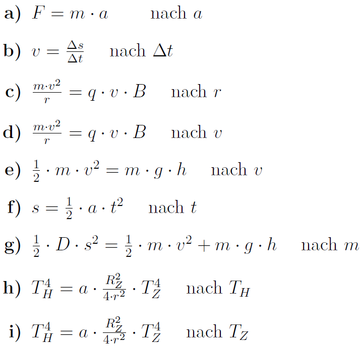 Formeln umformen