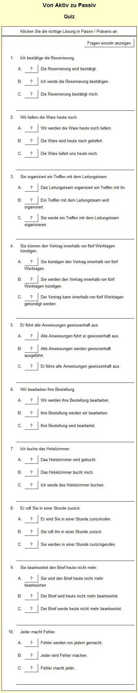 Aktiv Passiv Deutsch