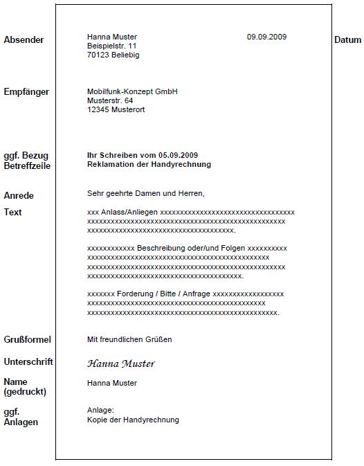 G12 Kriterien Aufbau Eines Geschäftsbriefes