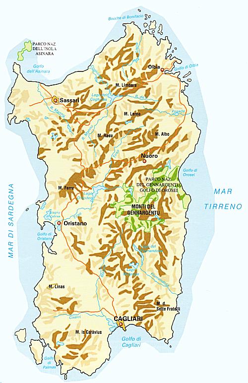 Cartina Italia Monti E Fiumi.Dati Sulla Sardegna