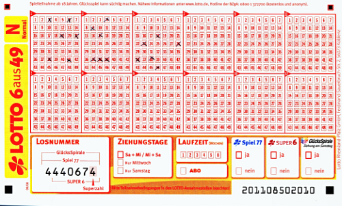 Lottoschein Bild
